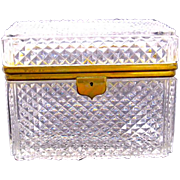 Huge Antique French Diamond Cut Crystal Casket with Smooth Dore Bronze Mounts. HUGE !