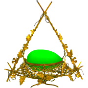 Large Antique French Palais Royal Green Opaline Wigwam Egg in Nest Casket with Dore Bronze Mounts