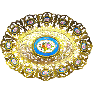 Antique French 'Sevres' Porcelain Mounted Dore Bronze Dresser Tray.