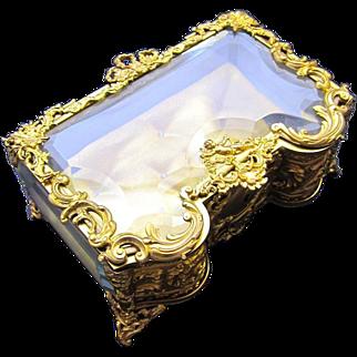 AntiqueFrench Napoleon III Dore Bronze and CrystalJewellery Casket