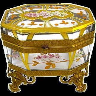 Unusual Antique MOSER Art Nouveau Glass Casket with Cherry Blossom Design.