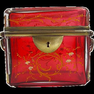 Antique MOSER Cranberry Glass Enamelled Casket Box
