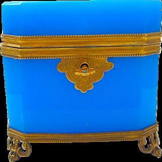 High Quality French Rectangular Blue Opaline Glass Casket Box.