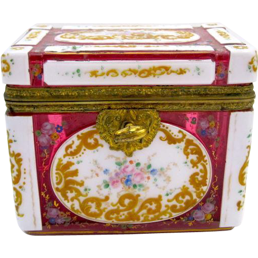 RARE Bohemian 19th Century Red and White Overlay Enamelled Casket Box