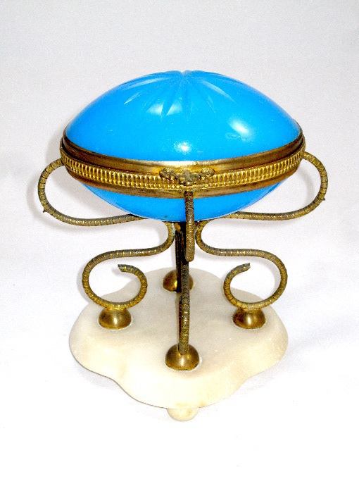 Large Palais Royal Blue Opaline Egg on Marble Base