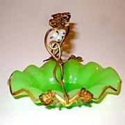 French Napoleon III Green Opaline Basket