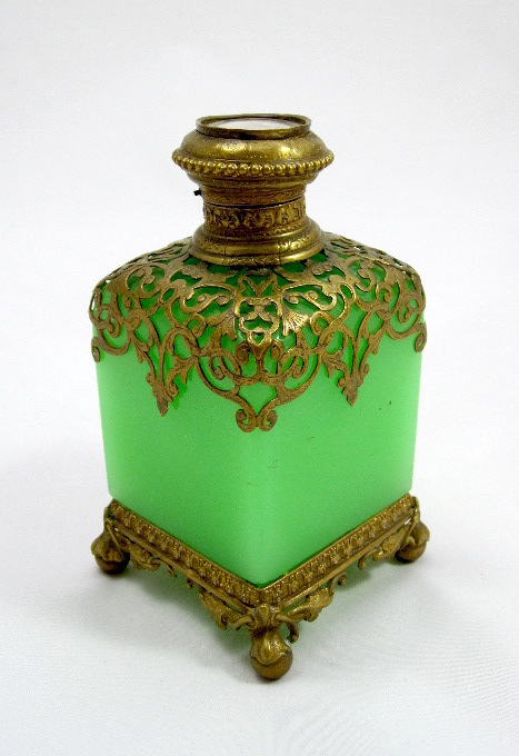 Large Grand Tour Green Opaline Perfume Bottle