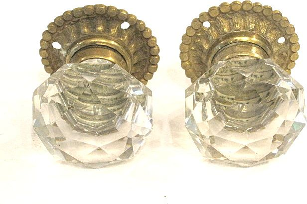 Pair French 19th Century Cut Crystal Door Knobs from grandtour on