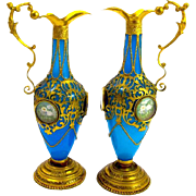 A Pair of Antique High Quality Palais Royal French Opaline Glass and Dore Bronze Vases