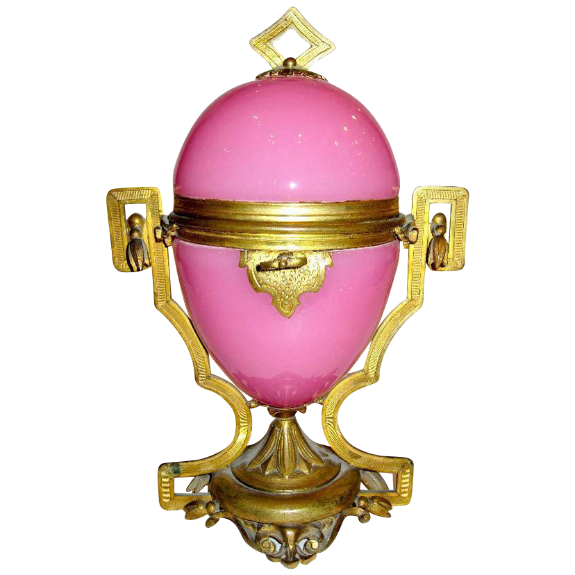 French 19th Century Pink Opaline Glass Egg Casket