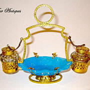 A French 19th Century Blue Opaline Glass ink set with Ormolu Mounts.