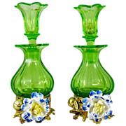 Pair of Palais Royal Perfume Bottles with Pretty Porcelain Flowers.