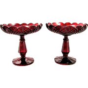 Pair Antique Bohemian Ruby Red Cut Glass Tazza Bowls
