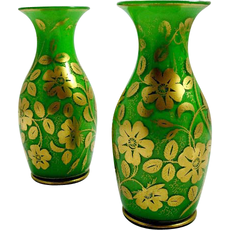 Pair of Stunning Antique Green Opaline Glass Vases