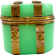Antique Dinky French Green Opaline Glass `Chest Box`.