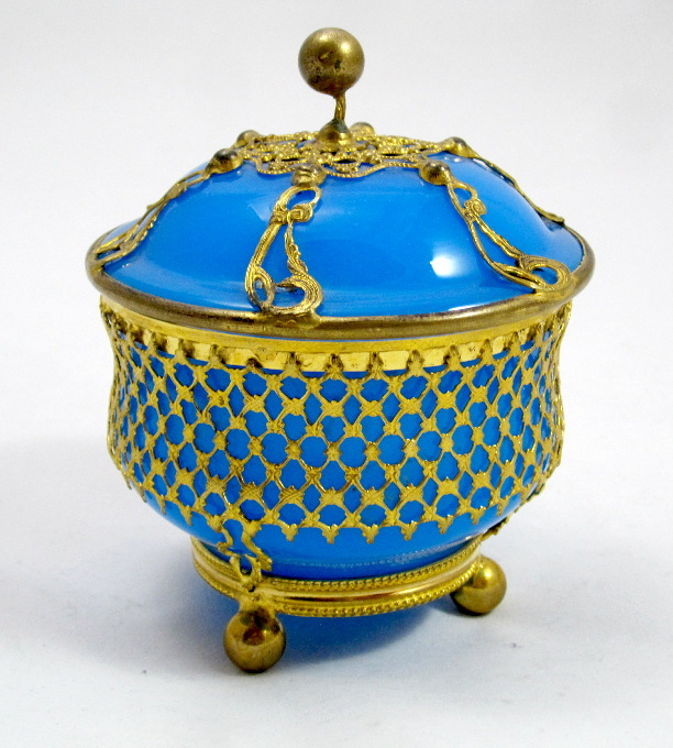 French Blue Opaline Glass Bowl and Cover Circa 1850
