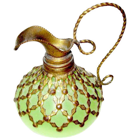 Pretty French 19th Century green opaline glass ewer with fine dore bronze mounts