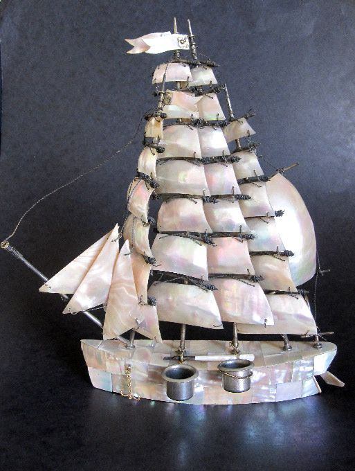 Huge Antique Mother of Pearl Boat Inkwell