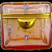 Unusual Peach Glass Enameled Box
