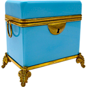 French 19th Century Blue Opaline Glass Casket