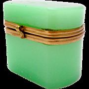 Antique Miniature Green Opaline Glass Box