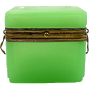 Antique  French Miniature Green Opaline Glass Casket