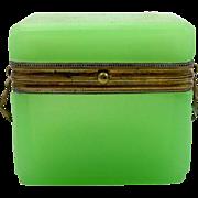 Antique  French Miniature Green Opaline Glass Casket
