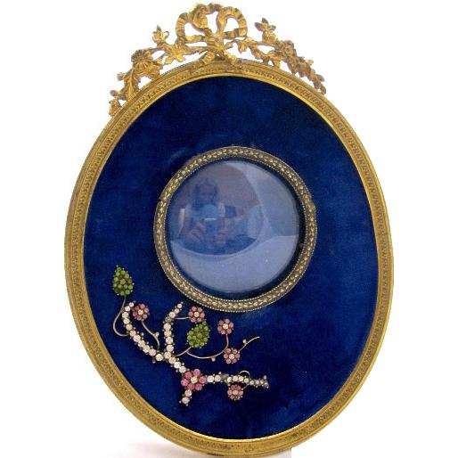 Antique French Blue Velvet Frame with Paste Flowers