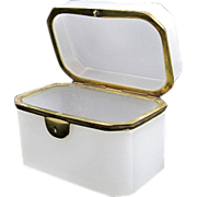 Large French 19th Century White Opaline Casket