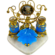 Large Antique Palais Royal Opaline Glass Perfume Set on a Triangular Marble Base