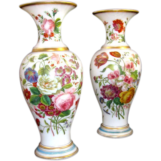 Antique Pair Of Baccarat Opaline Vases By Jean Francoise Robert