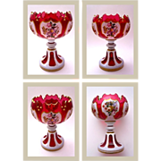 Antique Bohemian Overlay Glass Vase