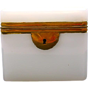 Antique French White Opaline Casket with Smooth Mounts