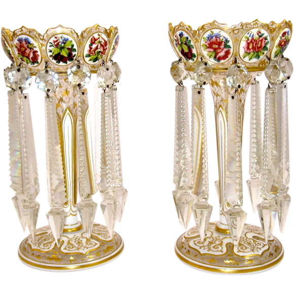 antique pair bohemian overlay glass lustres from grandtour on ruby lane. Black Bedroom Furniture Sets. Home Design Ideas