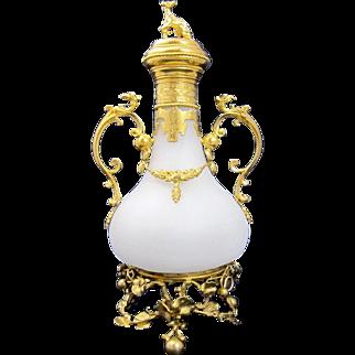 LARGE Antique Palais Royal French Opaline Glass Perfume Bottle