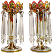 Antique Pair Bohemian Red Overlay Glass Lustres with Unusual Drops