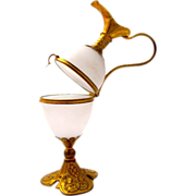 Antique Palais Royal White Opaline Glass Egg Shaped Ewer Box