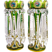 Stunning High Quality Antique Bohemian Green Overlay Glass Lustres