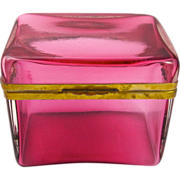 Antique French Cranberry Glass Casket