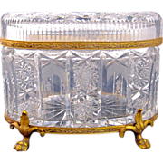 Large Antique French Cut Crystal Casket Box with Fine Mounts
