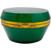 Antique French Green Glass Oval Glass casket Box with Smooth Mounts.