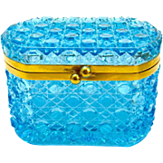 Antique Turquoise Baccarat Crystal Glass Casket Box