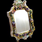 Antique Porcelain Mirror with Floral Decoration