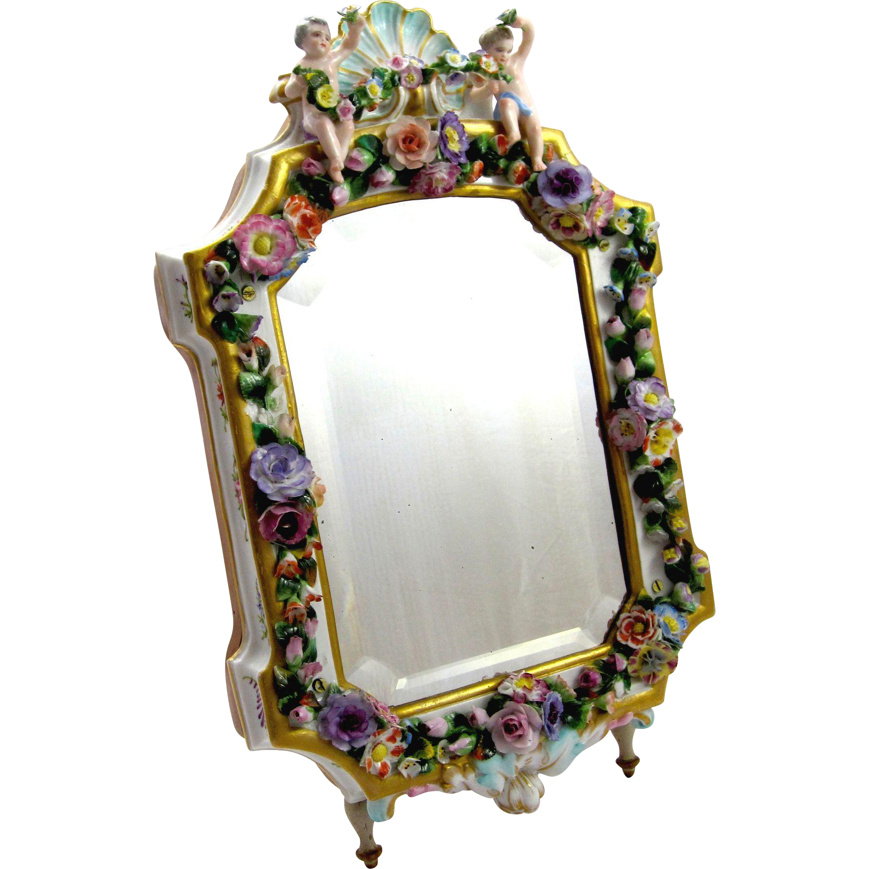 Antique porcelain mirror with floral decoration from for Antique decoration