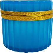 Antique French Opaline Glass Round Hinged Casket with Bevelled Body.