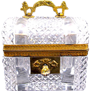 "Antique Baccarat Cut Crystal Glass ""Chest"" Casket Box"