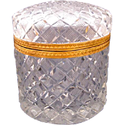 Antique Baccarat Oval Cut Crystal Casket Box