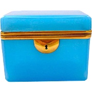 Antique French Blue Opaline Glass Casket Box with Smooth Dore Bronze Mounts.