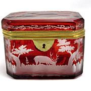 Finely Engraved Bohemian Biedermeier Ruby Red Box