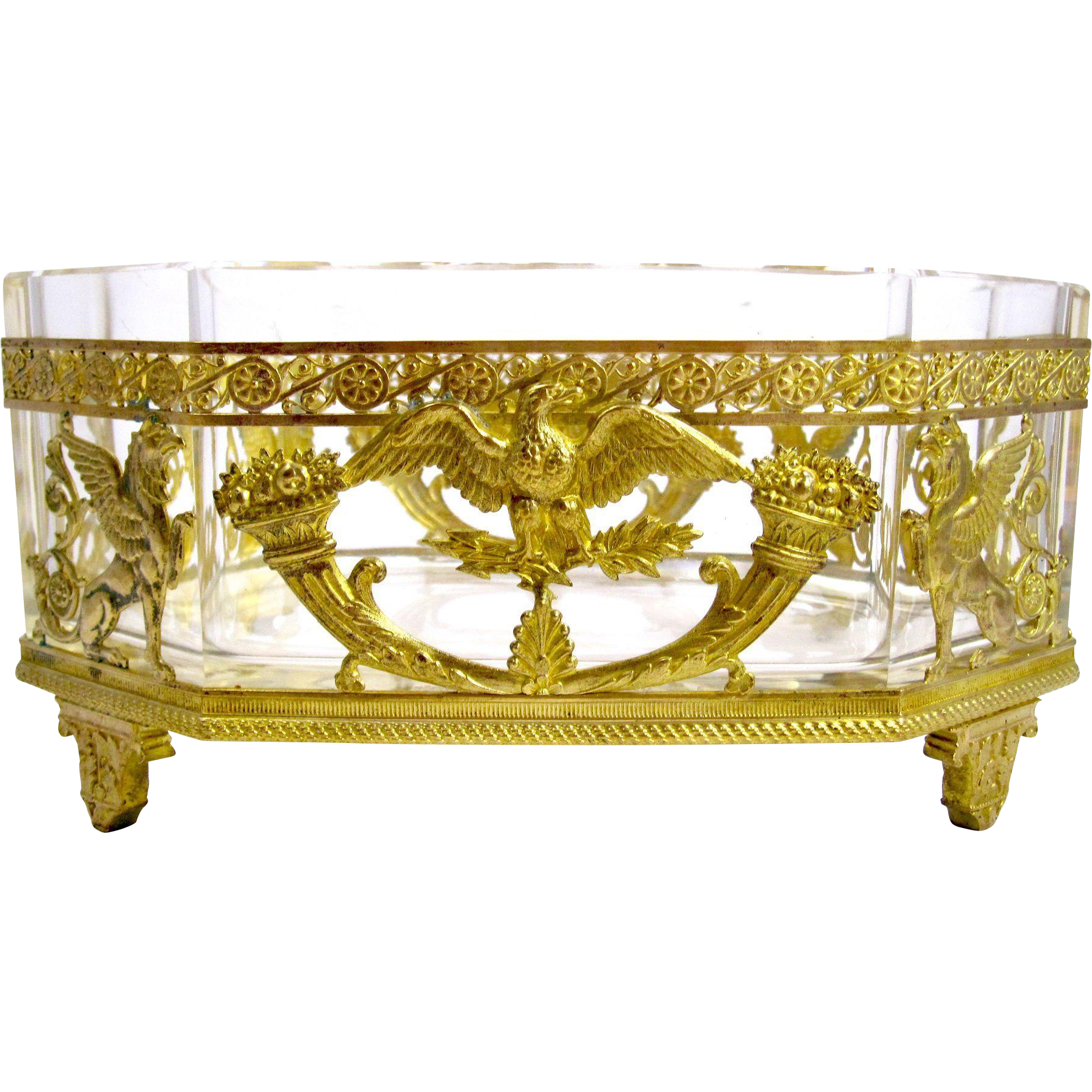 super antique empire crystal dore bronze jardiniere from. Black Bedroom Furniture Sets. Home Design Ideas